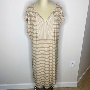 Isaac Mizrahi Live | Tan White Striped Knit Dress